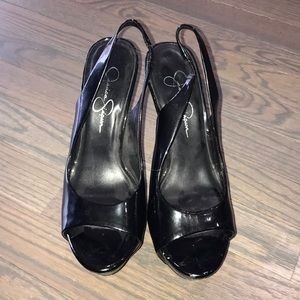 Jessica Simpson patent leather slingback pump
